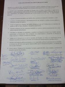 carta de los cineclubes de ecuador, 2015